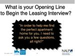 what is your opening line to begin the leasing interview