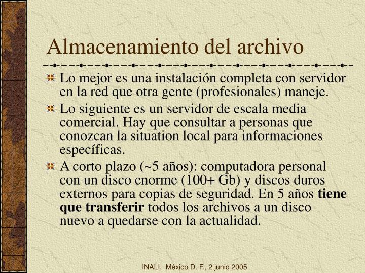 Almacenamiento del archivo