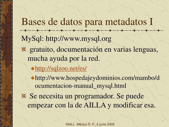 Bases de datos para metadatos I