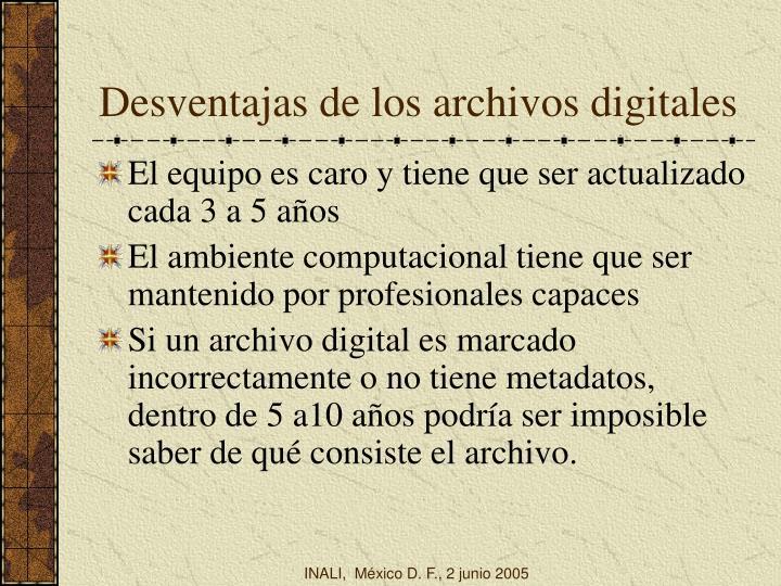 Desventajas de los archivos digitales