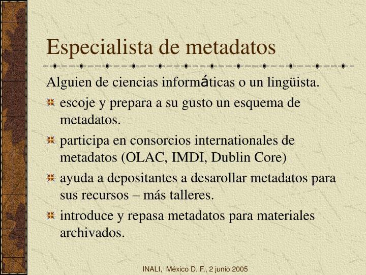 Especialista de metadatos