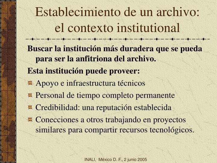 Establecimiento de un archivo: