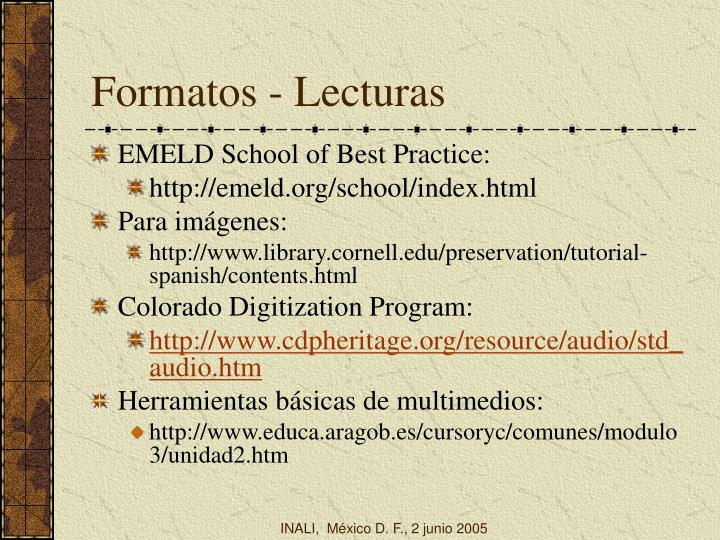 Formatos - Lecturas