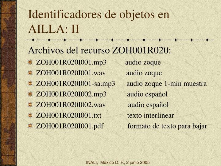 Identificadores de objetos en AILLA: II