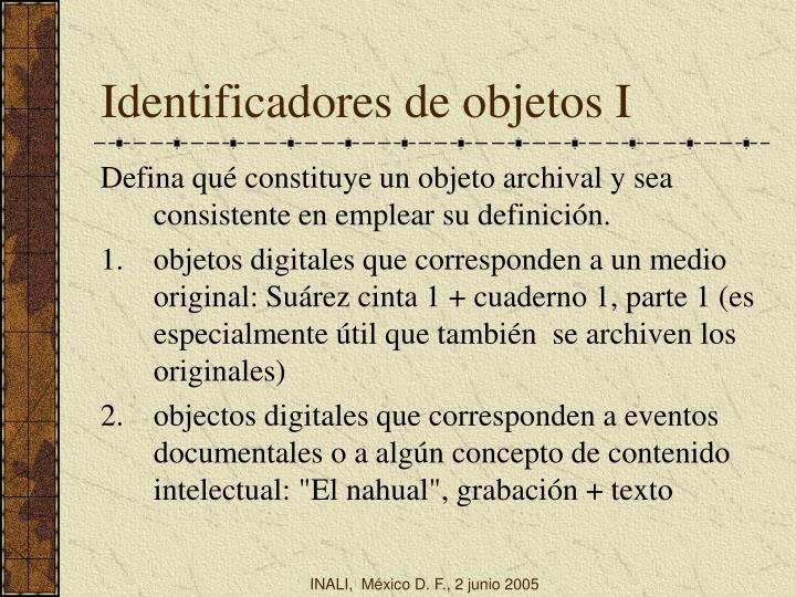 Identificadores de objetos I
