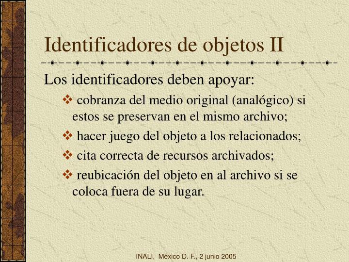 Identificadores de objetos II