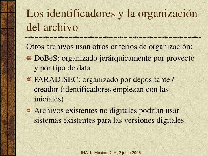 Los identificadores y la organización del archivo