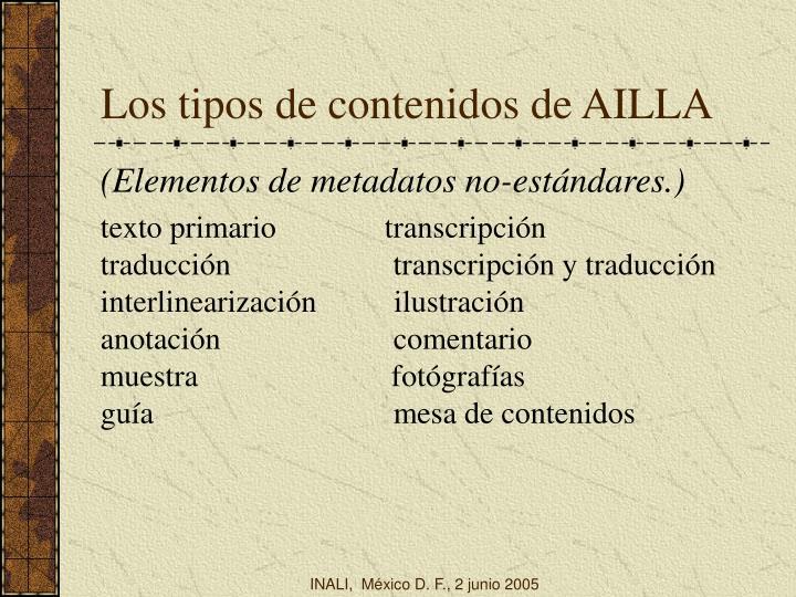 Los tipos de contenidos de AILLA