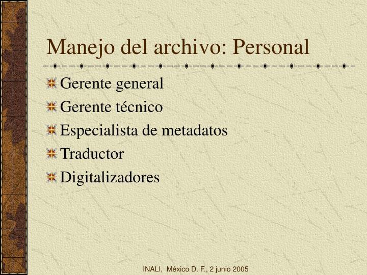 Manejo del archivo: Personal