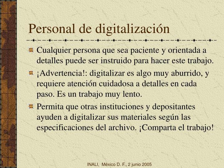 Personal de digitalización
