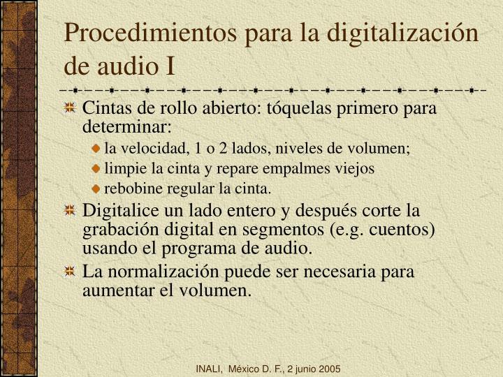 Procedimientos para la digitalización de audio I