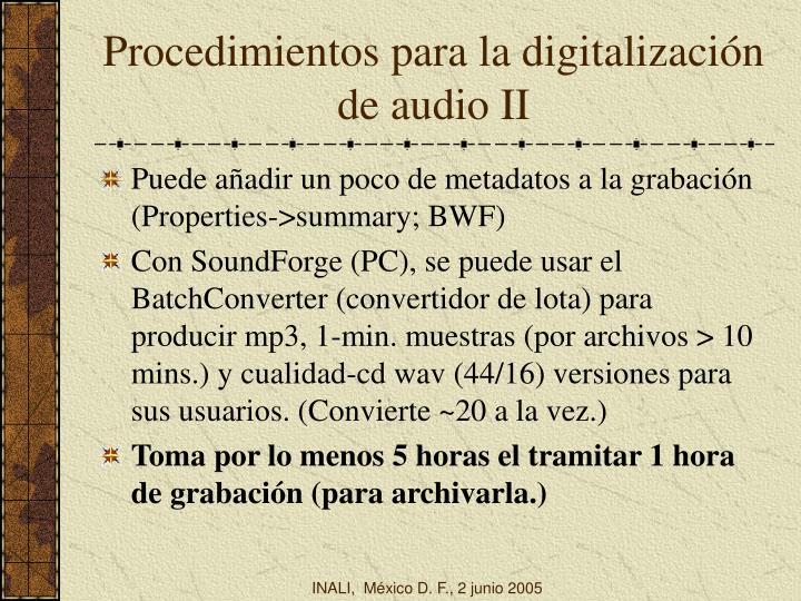 Procedimientos para la digitalización de audio II