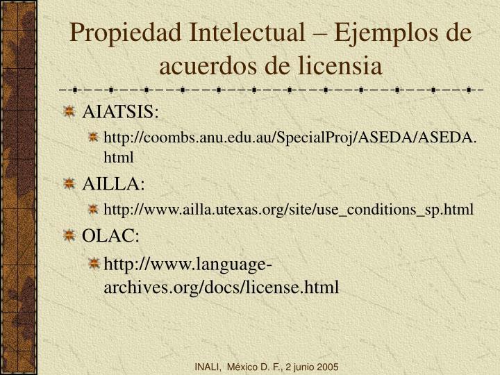 Propiedad Intelectual – Ejemplos de acuerdos de licensia