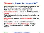 changes in power 5 to support smt