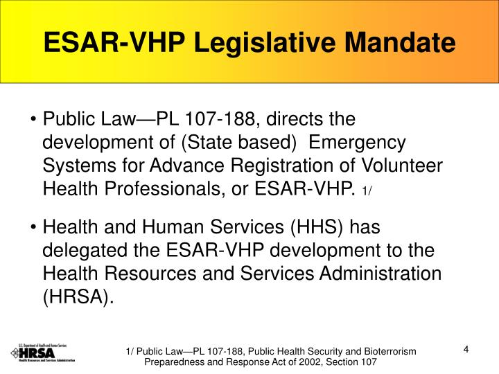 ESAR-VHP Legislative Mandate