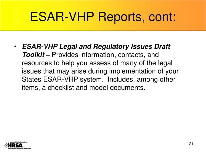 ESAR-VHP Reports, cont: