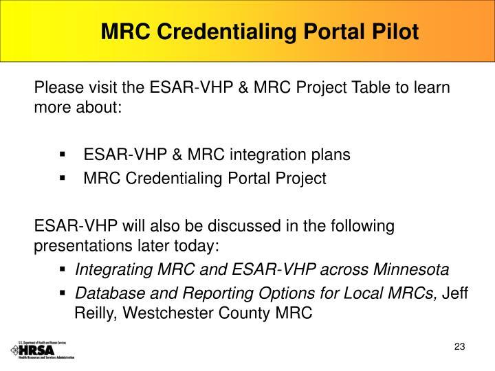 MRC Credentialing Portal Pilot