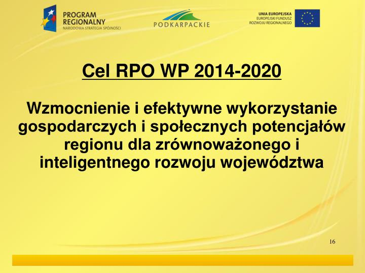 Cel RPO WP 2014-2020