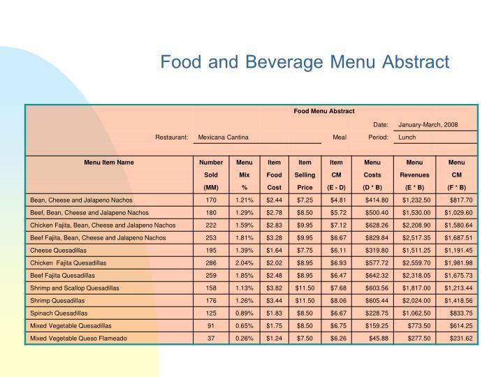 Food and Beverage Menu Abstract