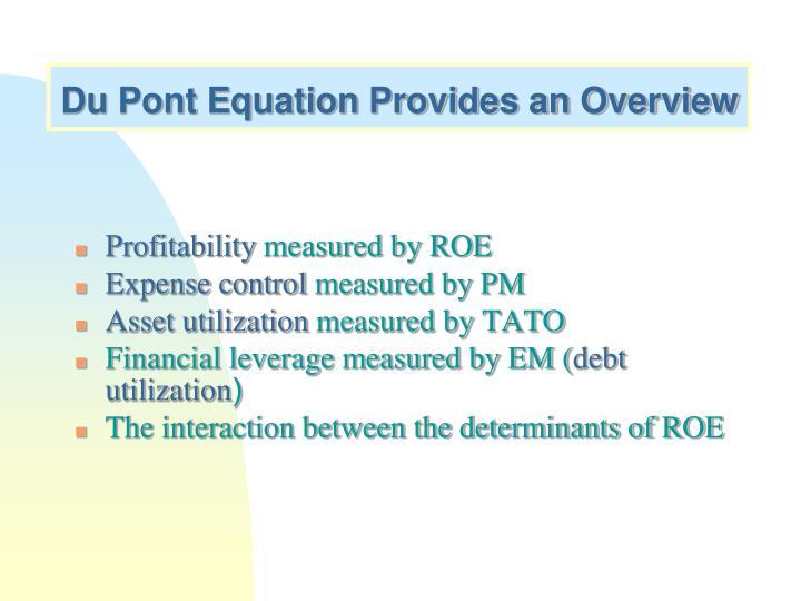 Du Pont Equation Provides an Overview