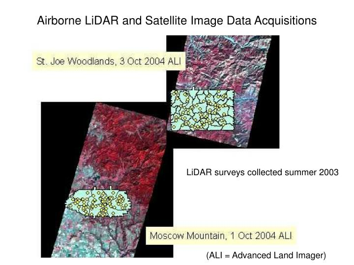 Airborne LiDAR and Satellite Image Data Acquisitions