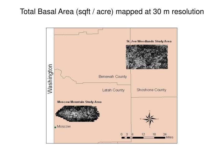 Total Basal Area (sqft / acre) mapped at 30 m resolution
