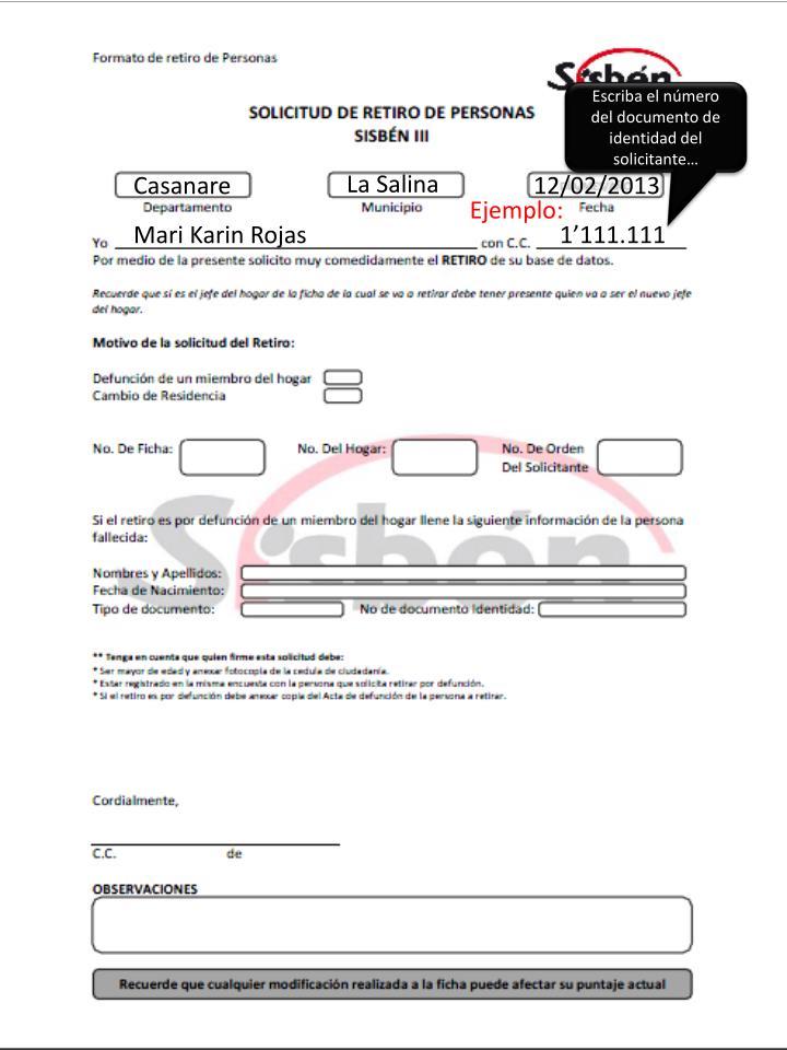 Escriba el número del documento de identidad del solicitante…