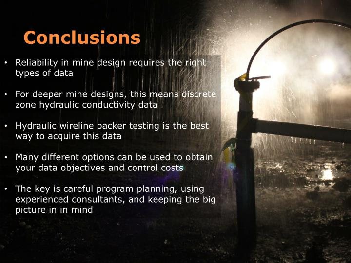 Reliability in mine design requires the right types of data