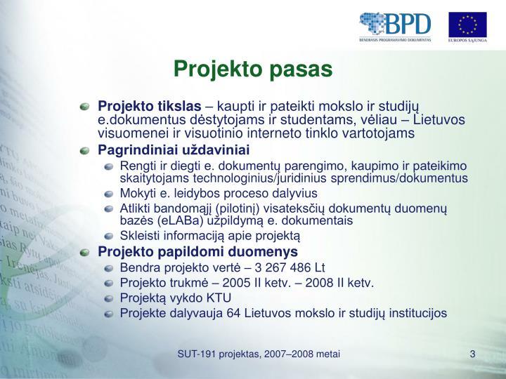 Projekto pasas