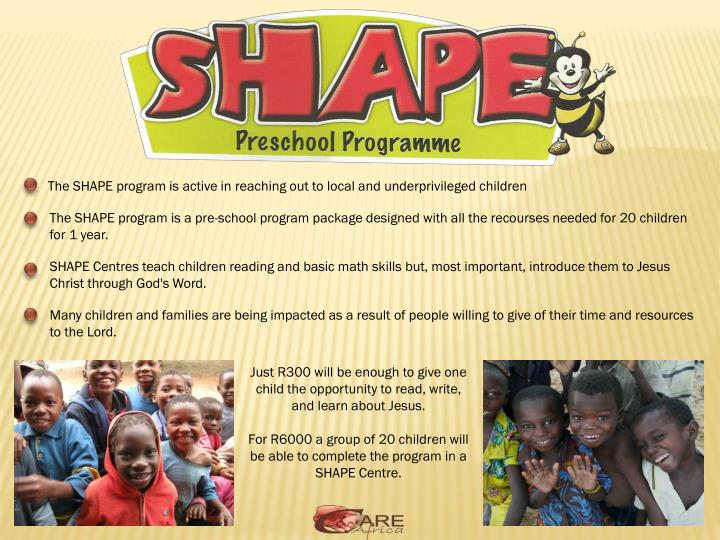 The SHAPE program is active in reaching out to
