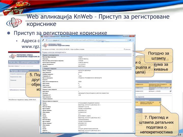 Приступ за регистроване кориснике