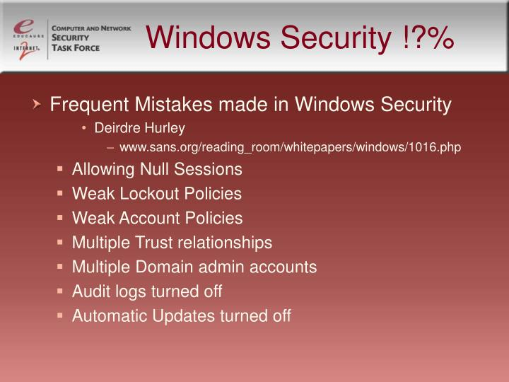 Windows Security !?%