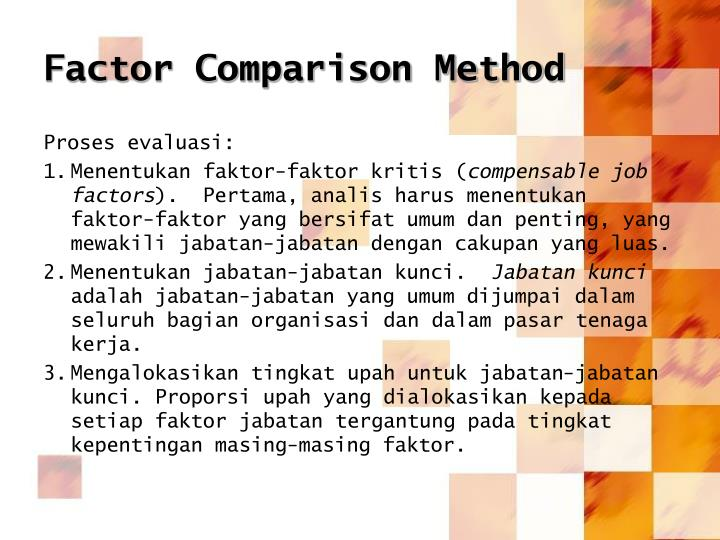 Factor Comparison Method