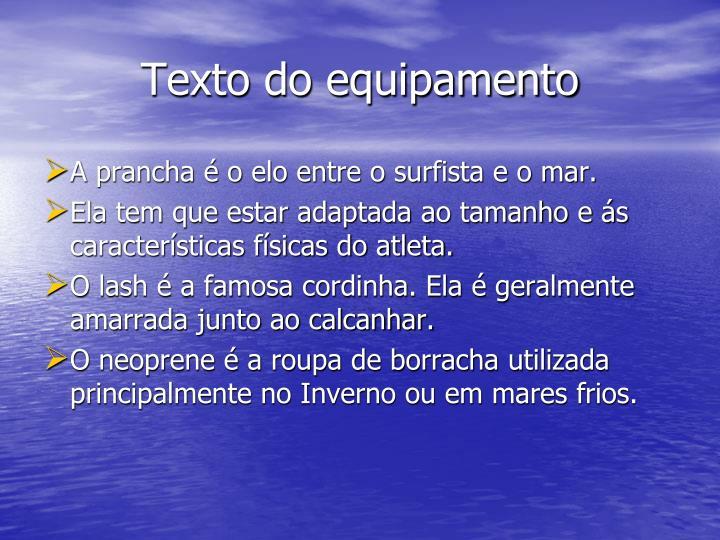Texto do equipamento