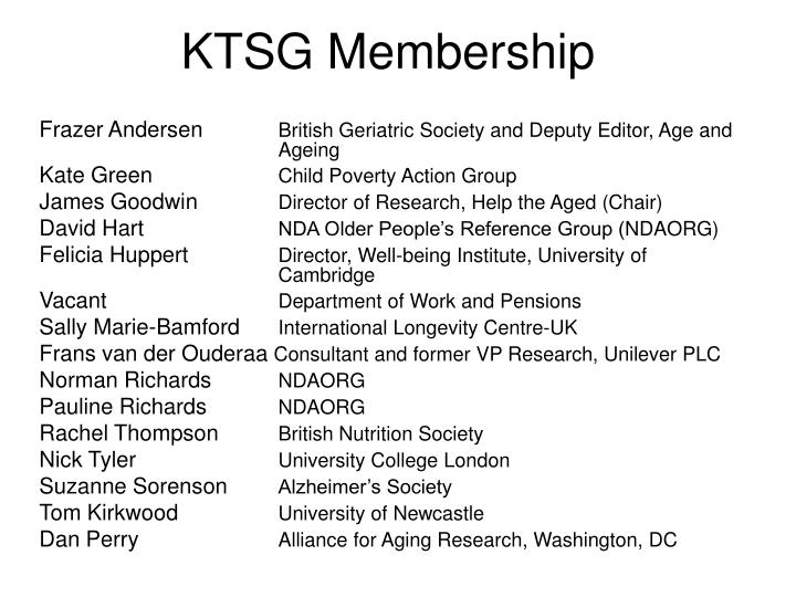 KTSG Membership