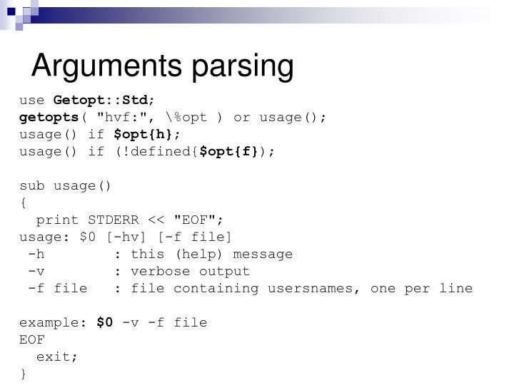 Arguments parsing