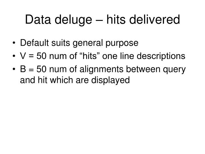 Data deluge – hits delivered