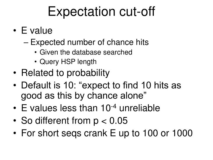 Expectation cut-off