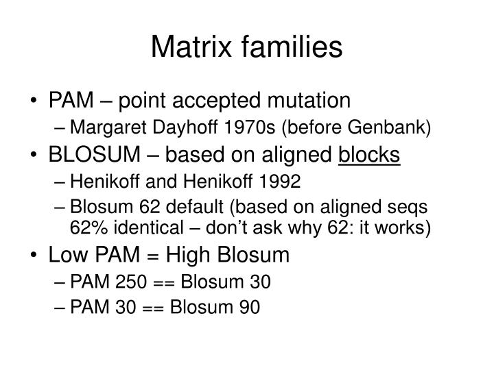 Matrix families