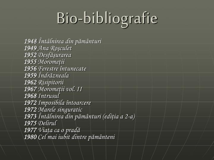 Bio-bibliografie