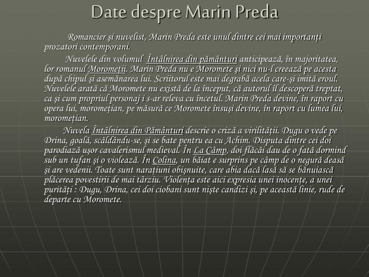 Date despre Marin Preda