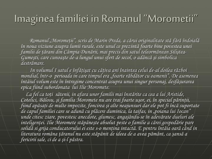 """Imaginea familiei in Romanul """"Morometii"""""""