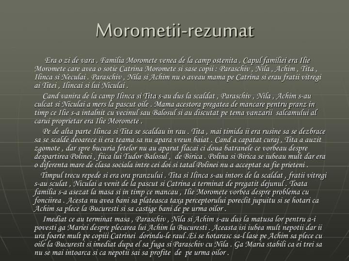 Morometii-rezumat