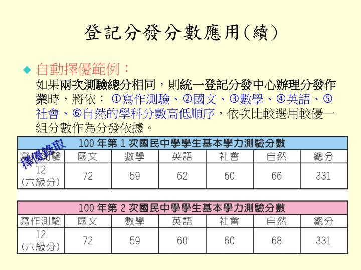登記分發分數應用
