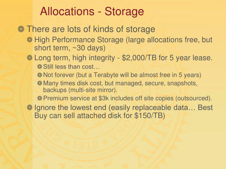 Allocations - Storage
