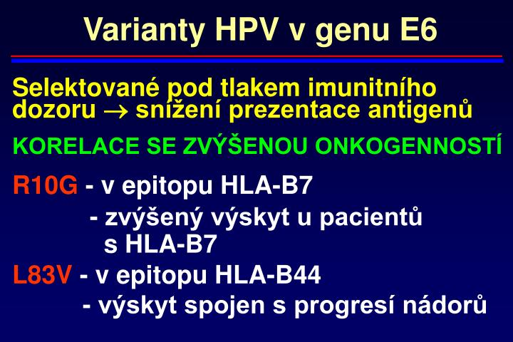 Varianty HPV v genu E6
