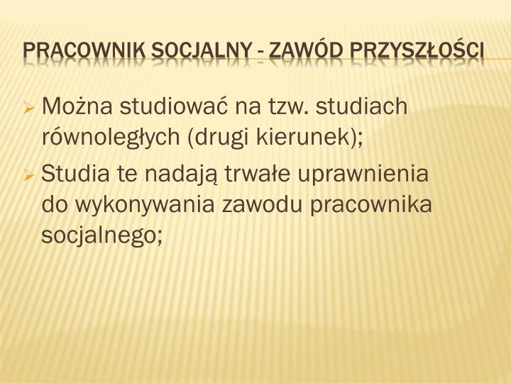 Można studiować na tzw. studiach równoległych (drugi kierunek);