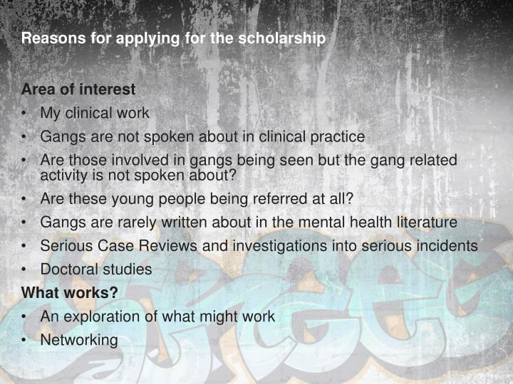 Reasons for applying for the scholarship