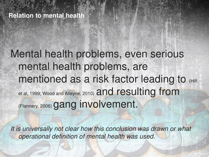 Relation to mental health