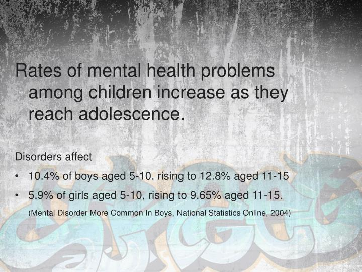Rates of mental health problems among children increase as they reach adolescence.
